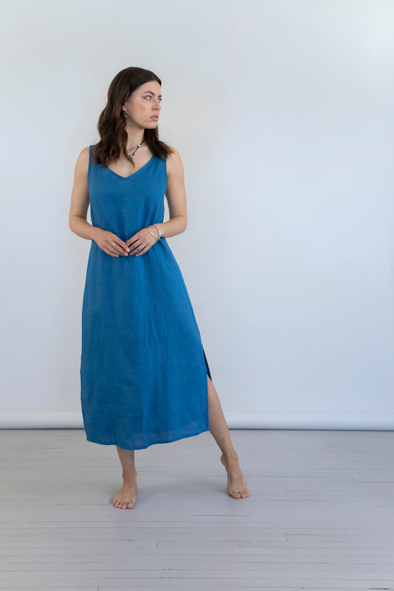 Mudra Linen Dress - Moroccan Blue