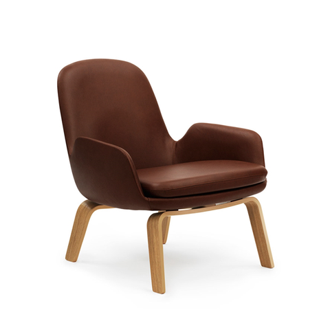 Normann Copenhagen Era Low Lounge Chair with Tango Leather 年代 低背 木質休閒椅 皮革包覆版
