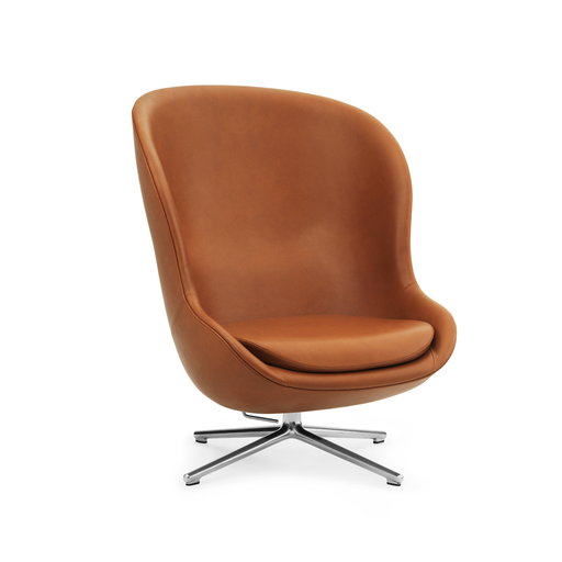Normann Copenhagen Hyg Lounge Chair High Swivel Alu Ultra Leather - 海格系列 可旋轉 高背 休閒椅 皮革包覆款