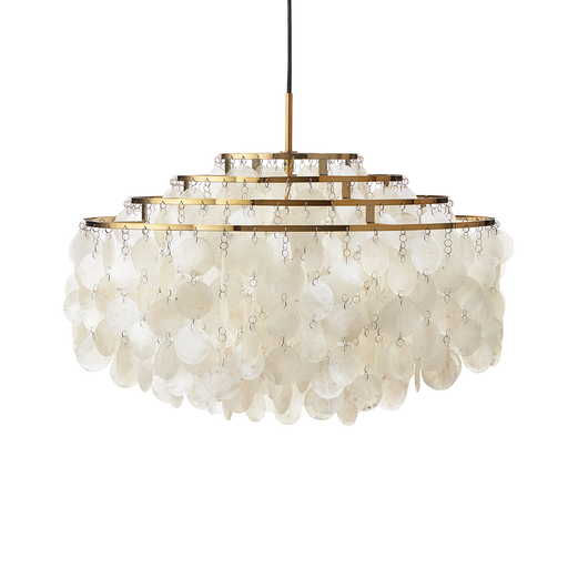 Verpan Fun 10DM with Brass Finish Suspension Lamp 57cm 珍珠母貝 四環吊燈 - 黃銅特別版