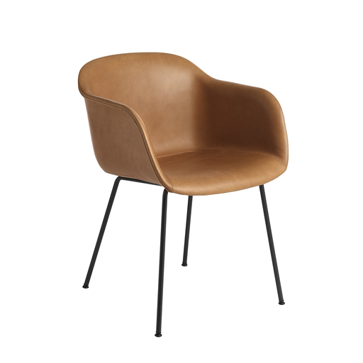 Muuto Fiber Armchair with Tube Base Leather Upholstered 木纖 扶手椅 金屬椅腳版 皮革包覆