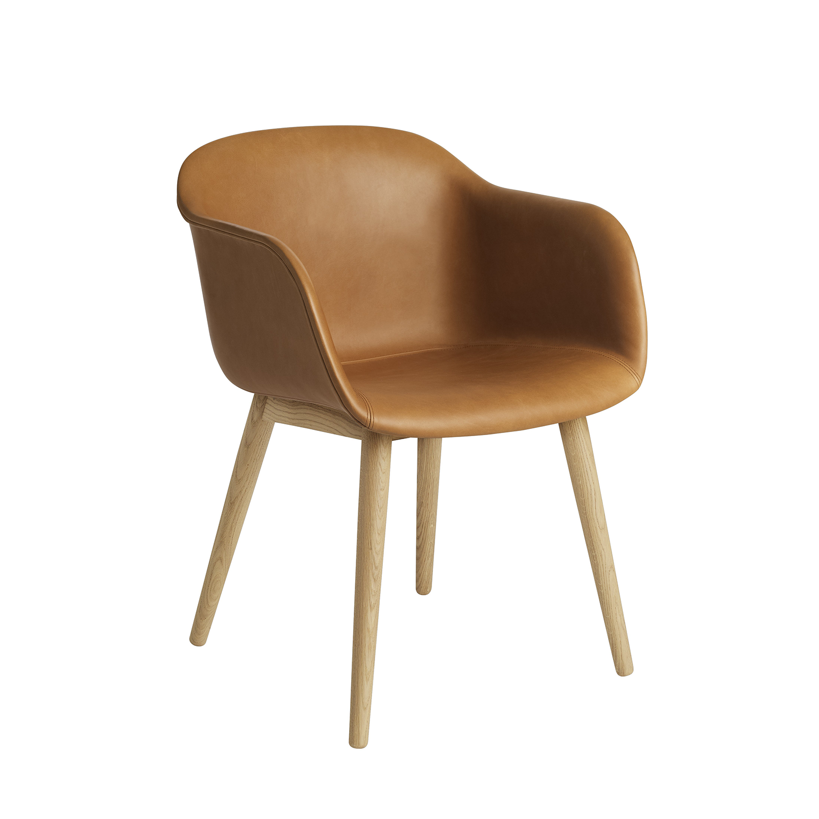 Muuto Fiber Armchair with Wood Base Leather Upholstered 木纖 扶手椅 橡木椅腳 皮革包覆版