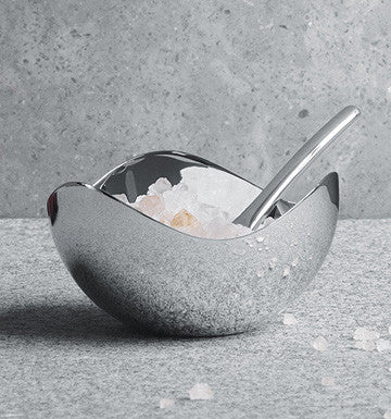 Georg Jensen Bloom Salt Cellar with Spoon Mirror 7cm 喬治傑生 時尚花語 鹽缽與匙