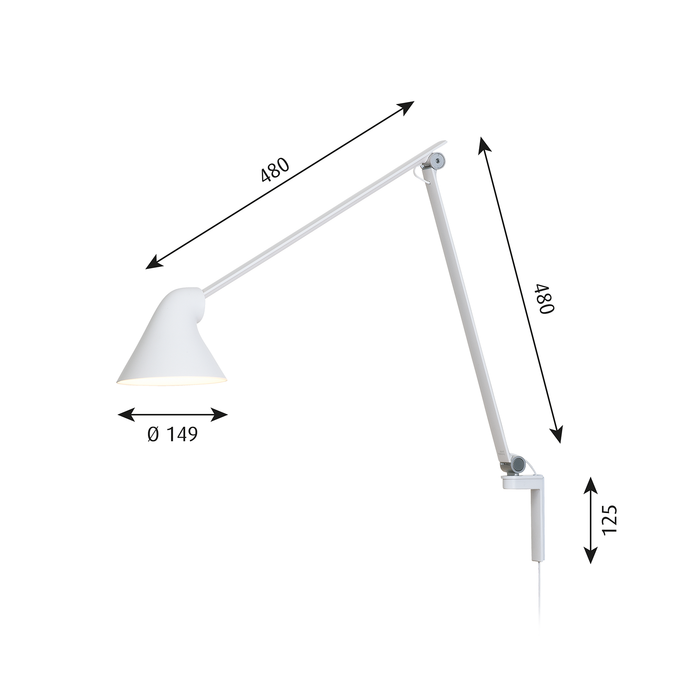 Louis Poulsen NJP Wall Lamp with Long Arm 佐藤大設計系列 摩登 壁燈 - 懸臂長版