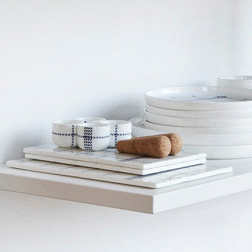 Normann Copenhagen Mormor Blue Board in Small 藍色格紋 方形瓷盤 小尺寸