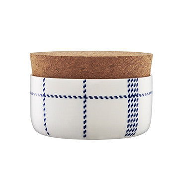 Normann Copenhagen Mormor Blue Sugar Bowl 藍色格紋 軟木蓋 糖缽