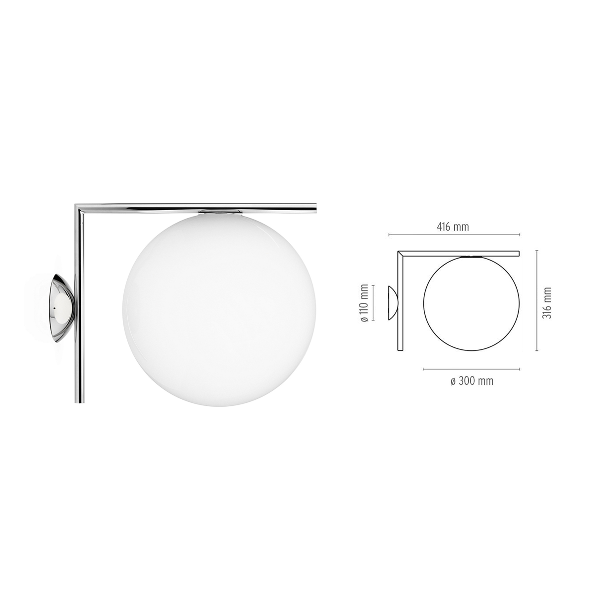 Flos IC Lights C/W 2 Ceiling / Wall Lamp 30cm 恆星系列 壁燈 / 頂燈 大尺寸