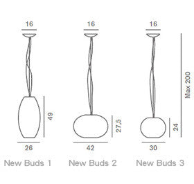 Foscarini New Buds 1 Suspension Lamp 圓弧 亮澤 吊燈 型號 1