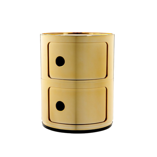 Kartell Componibili Round Storage Metallic Version 圓形雙層 收納櫃 金屬色亮面版