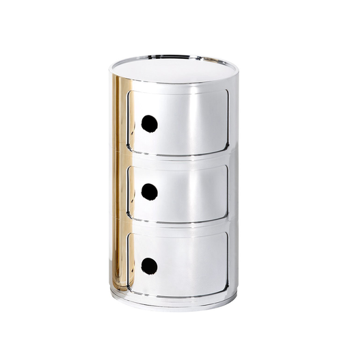 Kartell Componibili Round Storage Metallic Version 圓形三層 收納櫃 金屬色亮面版