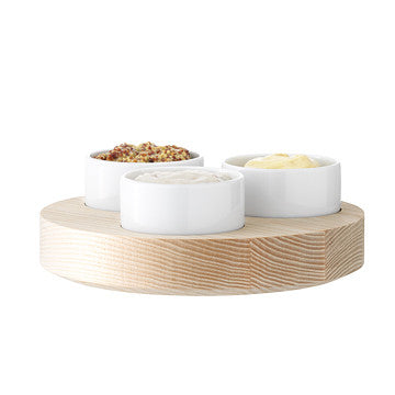 LSA Condiment Set, Lotta 系列 木質底座 點心皿 四件式組合 低尺寸