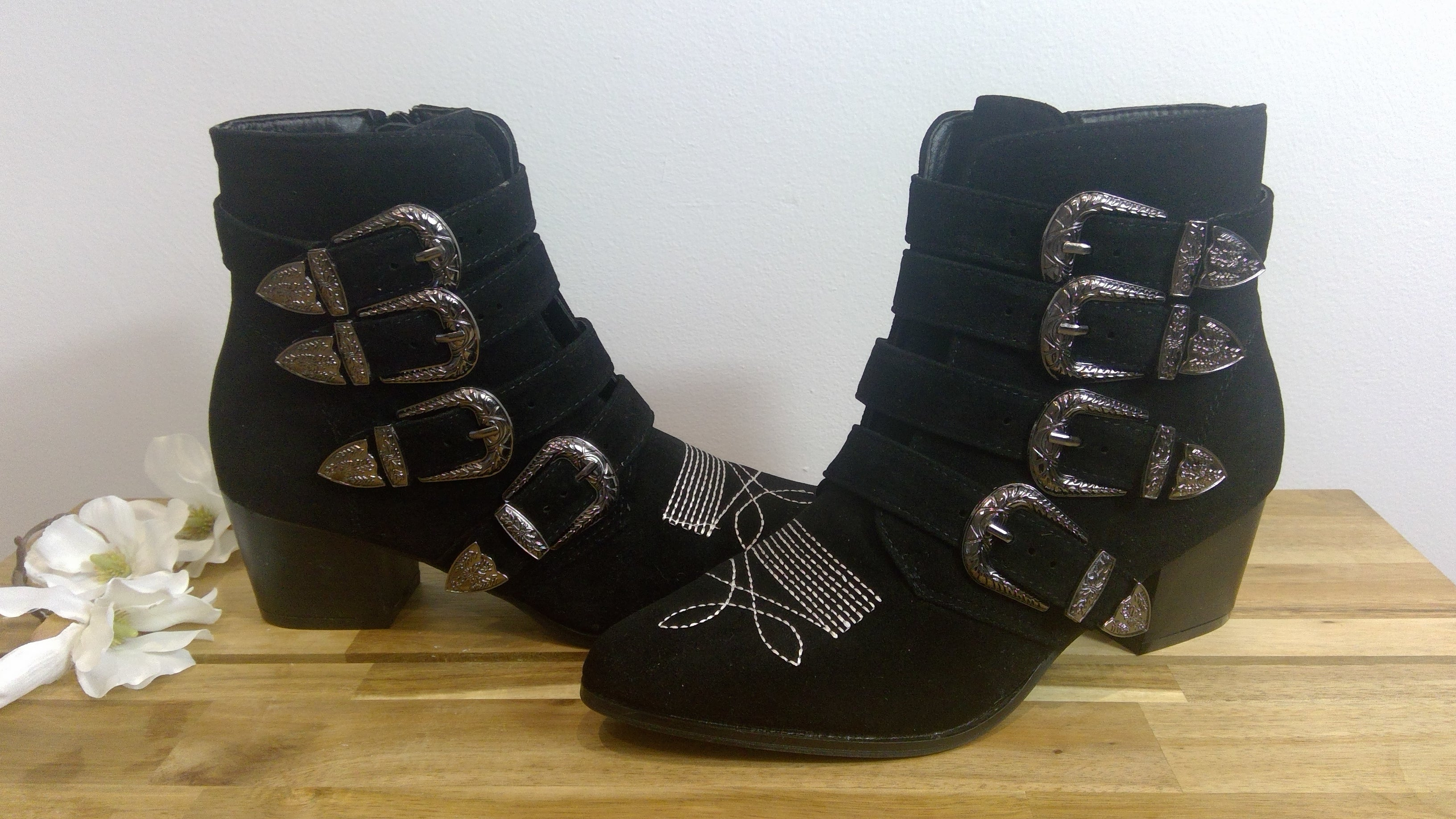 Black Faux Suede Buckle Boot