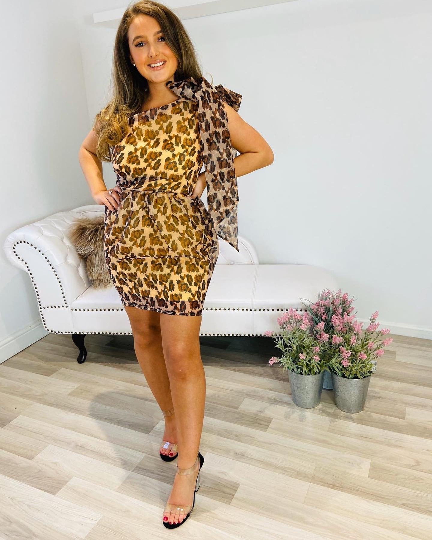 SASHA BOW DETAILED ORGANZA LEOPARD DRESS