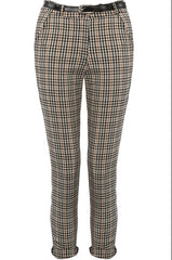 Checked Belted Trousers Beige and White Check