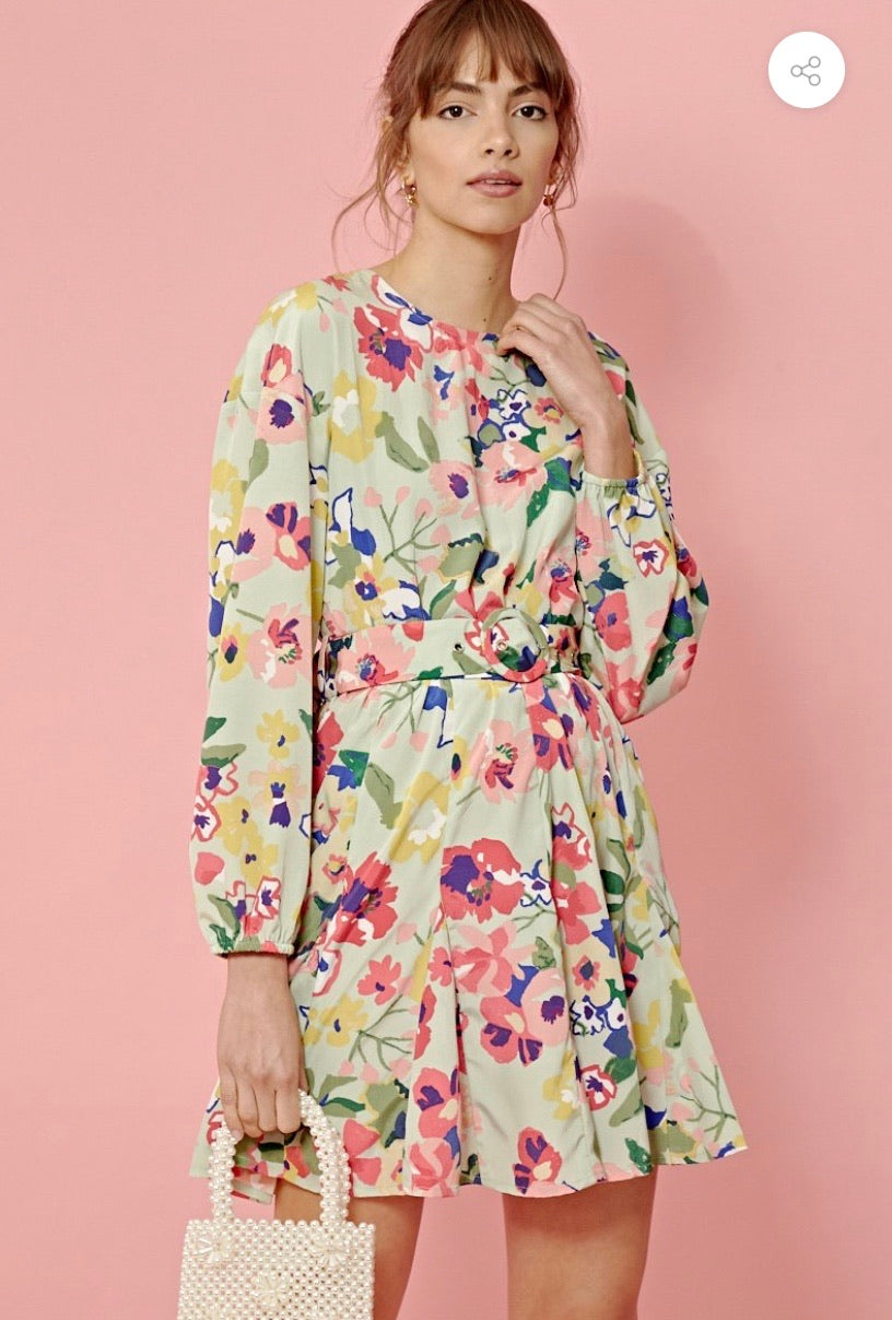 VINTAGE FLORAL BELTED MINI DRESS