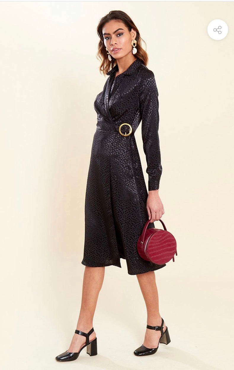 BLACK WRAP MIDI DRESS WITH BUCKLE