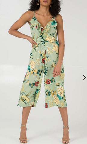 FRILL FRONT FLORAL DETAILED CULOTTE JUMPSUIT