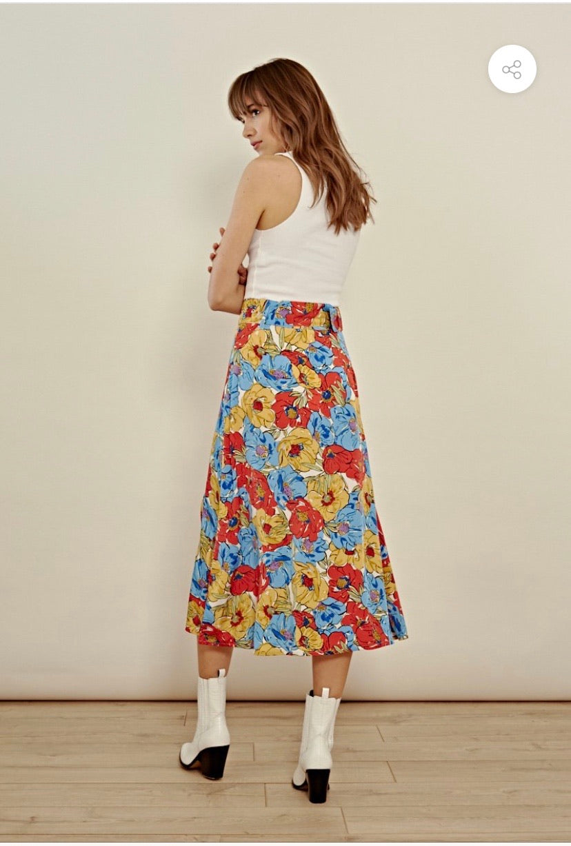 FLORAL BELTED MIDI SKIRT WITH THIGH SPLIT