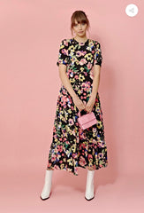 FLORAL BALOON SLEEVE MAXI TEA DRESS