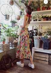 VINTAGE FLORAL MIDAXI PLEATED SKIRT