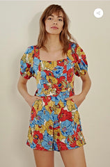 FLORAL PUFF SLEEVE BELTED PLAYSUIT