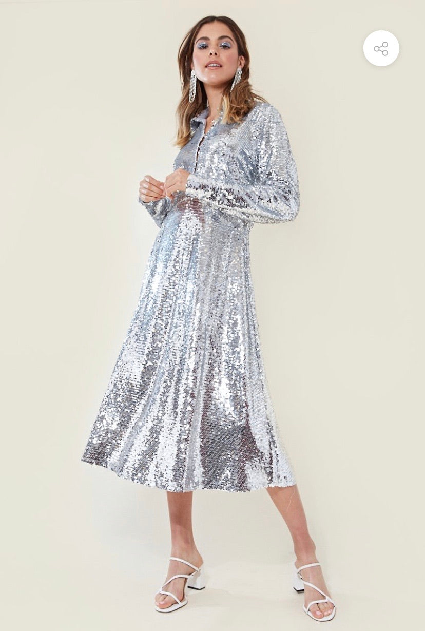 METALIC SILVER SEQUIN FULL SKIRT MIDI SHIRT DRESS