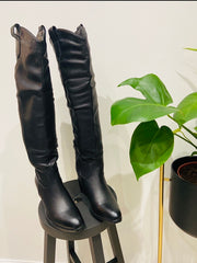 BRANDY WESTERN KNEE HIGH IN BLACK