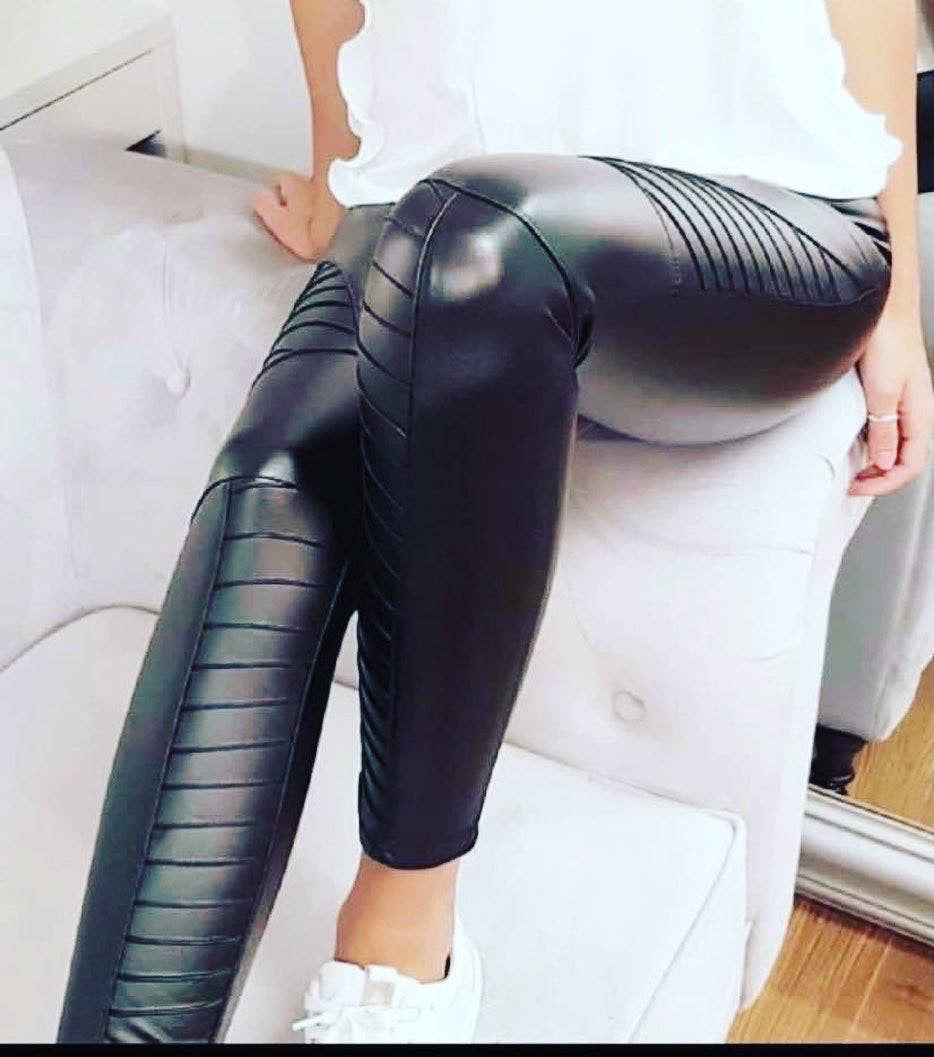 BIKER PU LEGGING IN BLACK