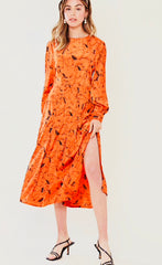 SKETCH HORSE MIDI DRESS IN WINTER ORANGE