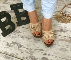 Nude Fringe With That Stud Mule
