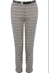 Checked Belted Trousers White and Red Check