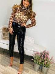 ORGANZA LEOPARD PRINT PUFF SLEEVED BOW BLOUSE