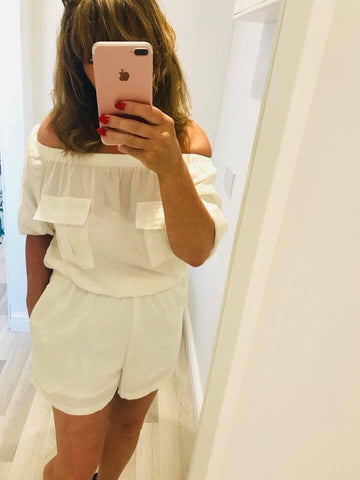 WHITE BARDOT PLAYSUIT