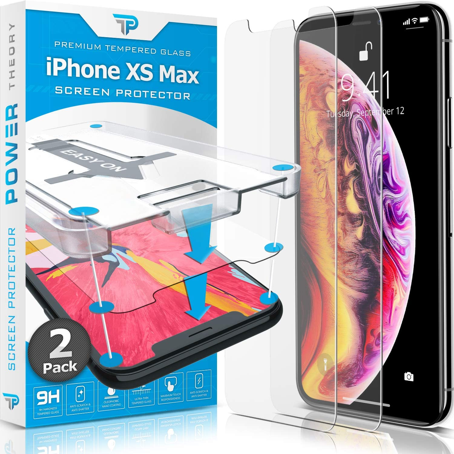 Power Theory iPhone Xs / MAX Glass Screen Protector [2-Pack]