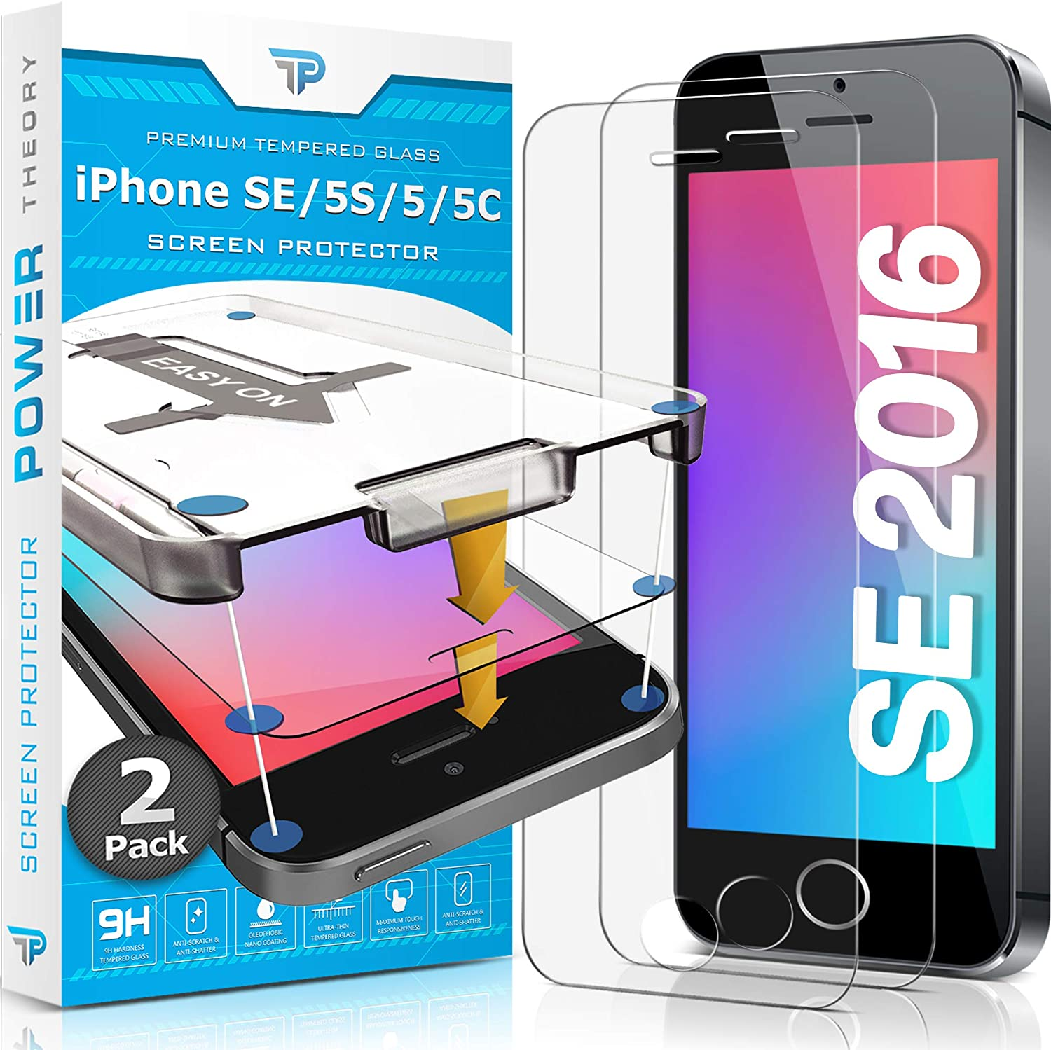 Power Theory iPhone SE/5S/5 Glass Screen Protector [2-Pack]