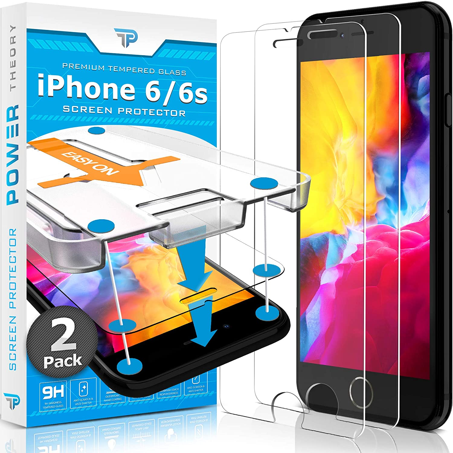 Power Theory iPhone 6s / iPhone 6 Glass Screen Protector [2-Pack]