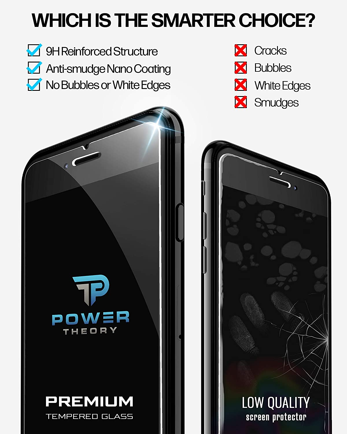 Power Theory iPhone 8 Plus/iPhone 7 Plus Glass Screen Protector [2-Pack]
