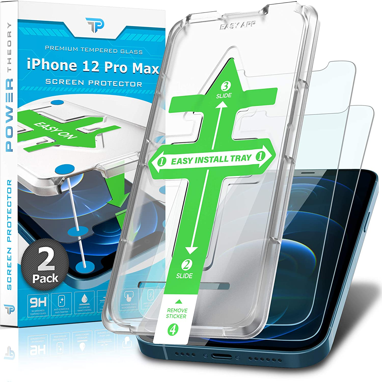 Power Theory Screen Protector for iPhone 12 Pro Max [2-Pack]