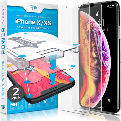 Power Theory iPhone X/iPhone Xs Glass Screen Protector [2-Pack]