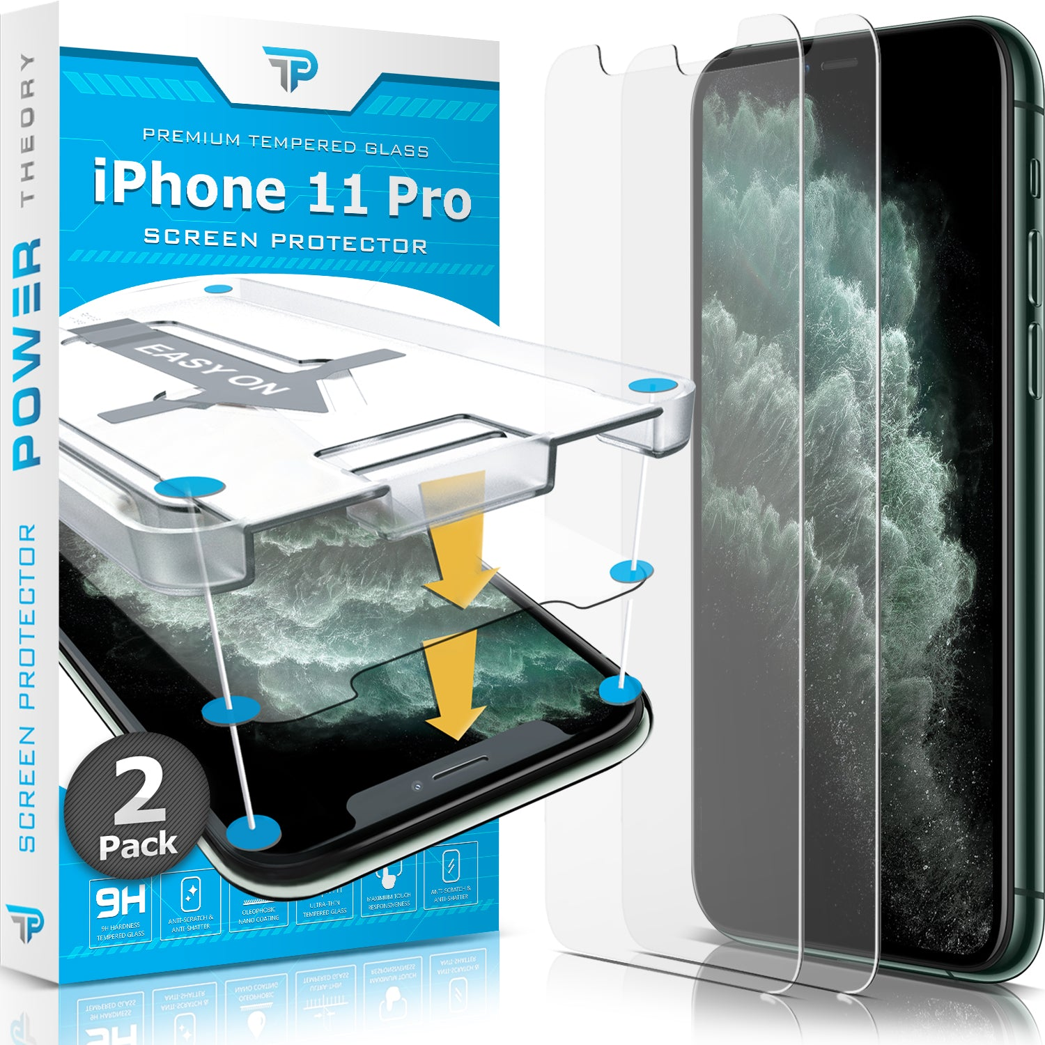 Power Theory iPhone 11 Pro Glass Screen Protector [2-Pack]