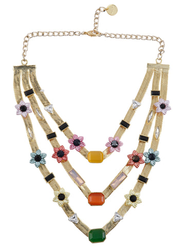 Three Layered Floral Candy Necklace (Gold)