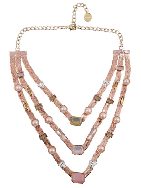 Three Layered Candy Necklace (Rose Gold)