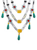 Three Layered Floral Candy Necklace with Drops (Silver)