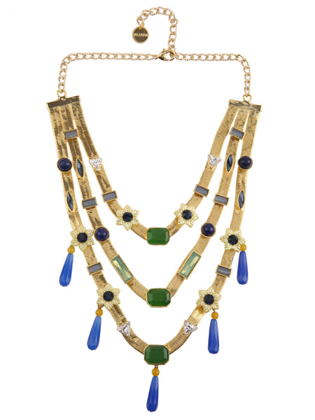 Three Layered Floral Candy Necklace with Drops (Gold)