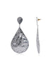 Beaten Metal Teardrop Earrings (Silver)