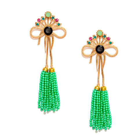 Bow with Green Bead Tassel Earrings