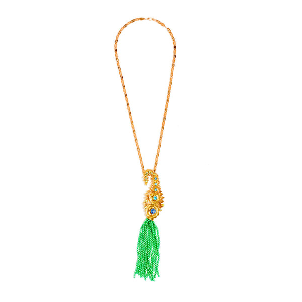 Fairy Green Bead Tassel Necklace
