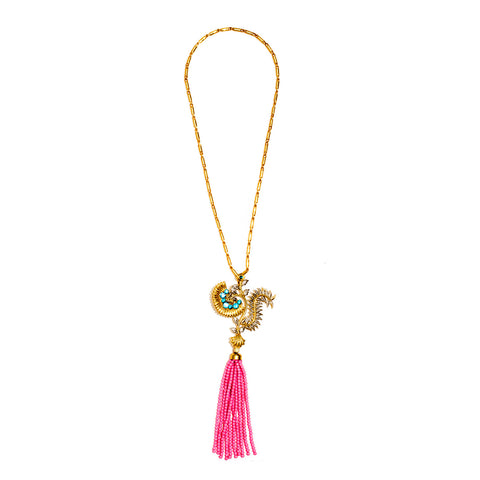 Aaliyah Pink Bead Tassel Necklace