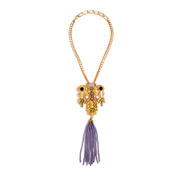 Elli Indigo Bead Tassel Necklace