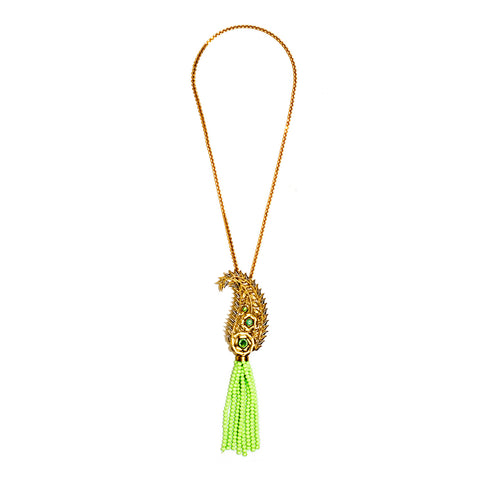 Rozaa Lime Green Bead Tassel Necklace